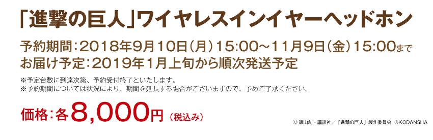 予約期間:2018年9月10日(月)15:00~11月9日(金)15:00 お届け期間:2019年1月上旬より順次発送予定