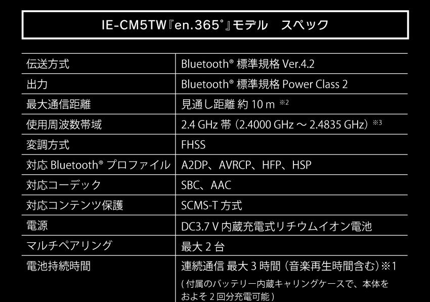 IE-CM5TW en365°コラボモデル スペック